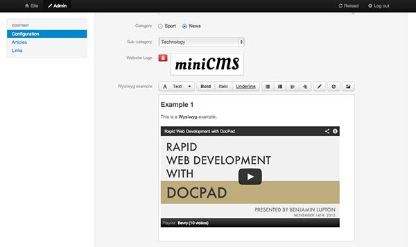 Статический генератор сайта docpad admin