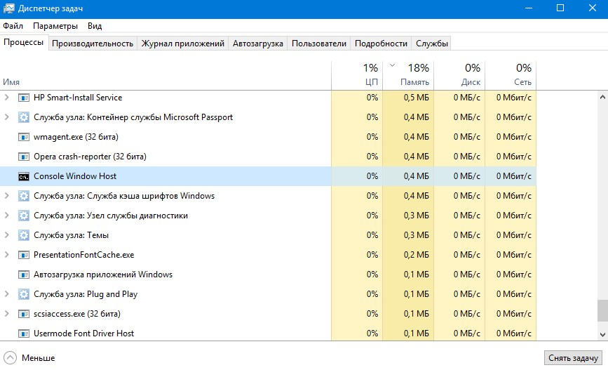 Процесс windows conhost.exe